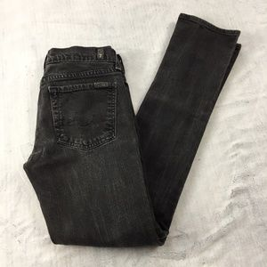 7 for All Mankind Jeans Black Fade Skinny Leg 27W